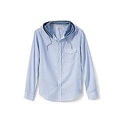 Lands' End - Blue cotton/linen hooded shirt