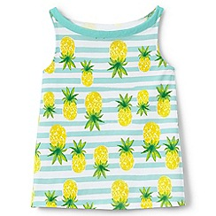 Lands' End - Girls' white a-line patterned vest top