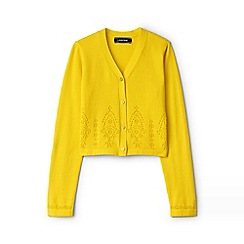 Lands' End - Girls' yellow v-neck broderie anglaise sophie cardigan
