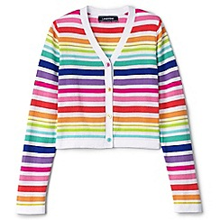 Lands' End - Girls' multicoloured v-neck pattern sophie cardigan