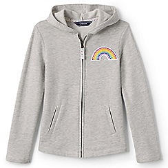 Lands' End - Girls' grey rainbow hoodie