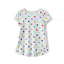 Lands' End - Girls' white a-line patterned tee
