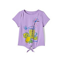 Lands' End - Girls' purple tie front graphic tee