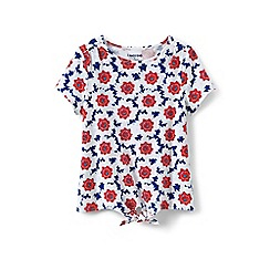 Lands' End - Girls' white tie front patterned tee