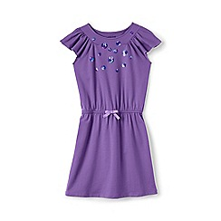 Lands' End - Girls' purple flutter sleeve dress