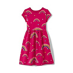 Lands' End - Girls' red short sleeve gathered waist dress