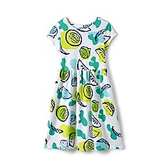 Lands' End - Girls' white short sleeve gathered waist dress