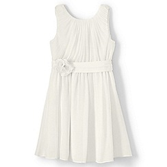Lands' End - Girls' cream soft pleated corsage dress