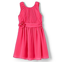 Lands' End - Girls' pink soft pleated corsage dress