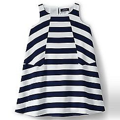 Lands' End - Girls' blue trapeze woven pieced dress