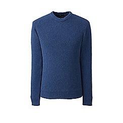 Lands' End - Blue horizontal rib drifter cotton jumper