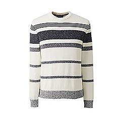 Lands' End - Grey marled stripe drifter cotton jumper