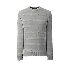 Lands' End - Grey horizontal cable drifter cotton jumper