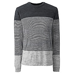 Lands' End - Grey regular placed stripe mariner cotton jumper