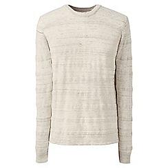 Lands' End - Beige regular textured stripe mariner cotton jumper
