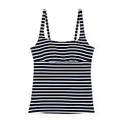 Lands' End - Blue mastectomy beach living square neck nautical stripe tankini top