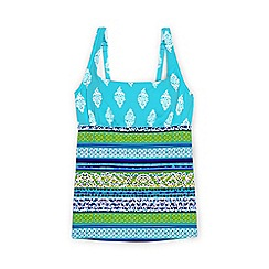 Lands' End - Multi d-cup beach living square neck scuba print tankini top