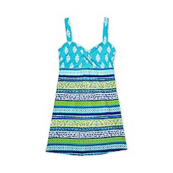 Lands' End - Multi regular sweetheart dresskini scuba print swim top
