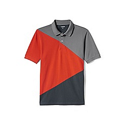 Lands' End - Orange colour block pique polo