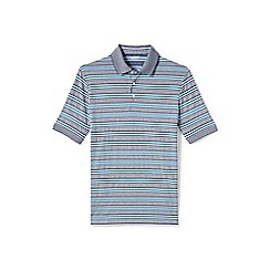 Lands' End - White striped supima polo