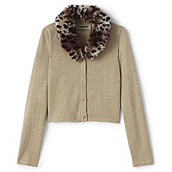 Lands' End - Beige girls' faux fur collar sparkle cardigan