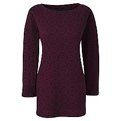 Lands' End - Red plus three quarter sleeve print boatneck tunic
