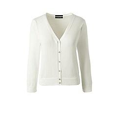 Lands' End - White petite supima 3-quarter sleeve cardigan