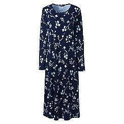 Lands' End - Blue supima patterned long sleeve calf-length nightdress