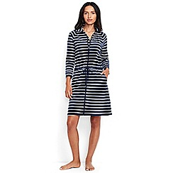 Lands' End - Multi regular funnel neck zip front striped cover-up dress