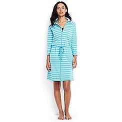 Lands' End - Multi regular funnel neck zip front striped cover-up dress