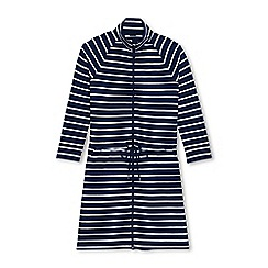 Lands' End - Multi plus funnel neck zip front striped cover-up dress