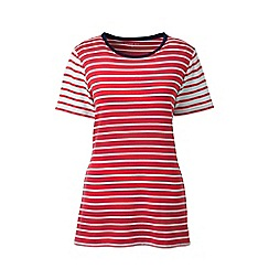 Lands' End - Red cotton rib crew neck t-shirt