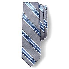 Lands' End - Grey regular oxford stripe silk tie