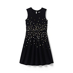 Lands' End - Black girls' sleeveless sparkle ponte dress