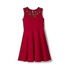 Lands' End - Red girls' sleeveless sparkle ponte dress