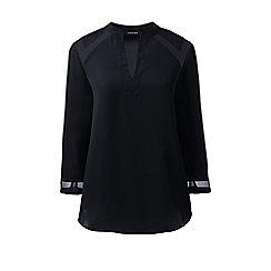Lands' End - Black 3-quarter sleeve yoke inset blouse