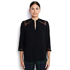 Lands' End - Cream 3-quarter sleeve yoke inset blouse