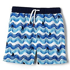 Lands' End - Boys' blue volley printed swim shorts
