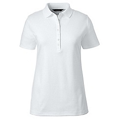 Lands' End - White petite short sleeve pima polo