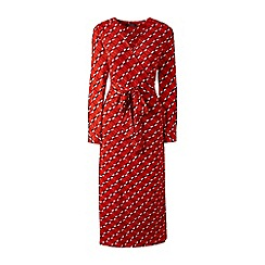 Lands' End - Red wrap and tie jersey dress