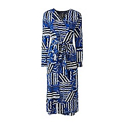 Lands' End - Blue wrap and tie jersey dress