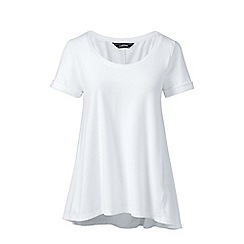 Lands' End - White petite cotton modal scoop neck top