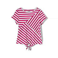 Lands' End - Girls' pink tie front striped tee