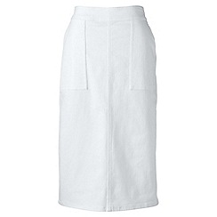 Lands' End - White petite stretch white denim pencil skirt