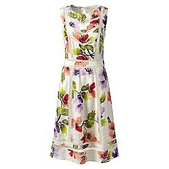 Lands' End - White petite sleeveless lace trim dress