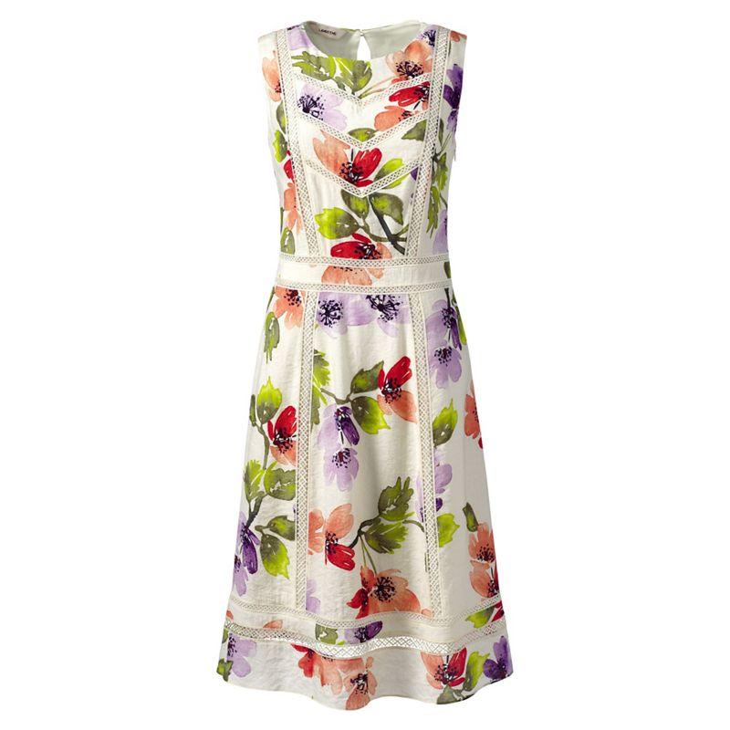 Lands End White petite sleeveless lace trim dress
