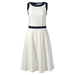 Lands' End - White regular woven colourblock fit and flare dress
