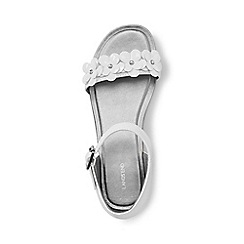 Lands' End - Girls' white ankle-strap flower sandals