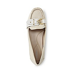 Lands' End - Cream regular buckle boat shoes