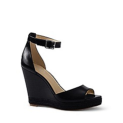 Lands' End - Black regular stacked wedge sandals